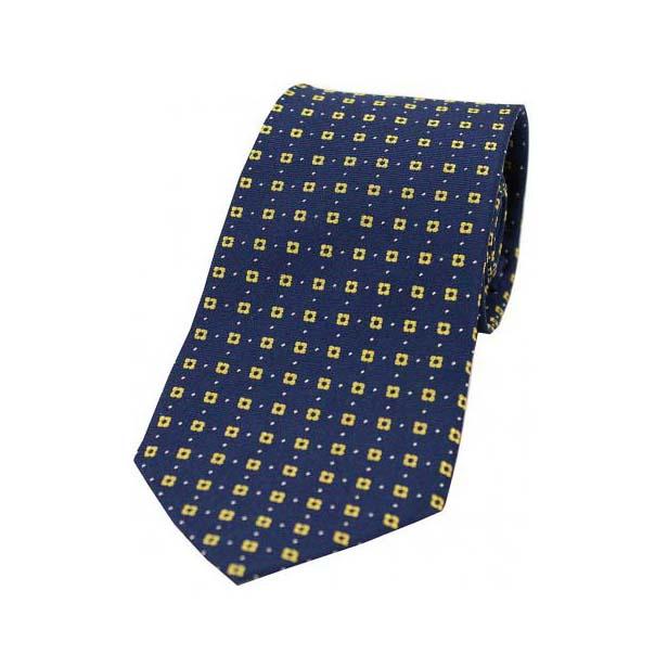 Neat Yellow Box Pattern on a Navy Silk Tie