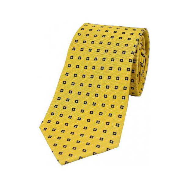 Neat Navy Box Pattern on Mustard Silk Tie