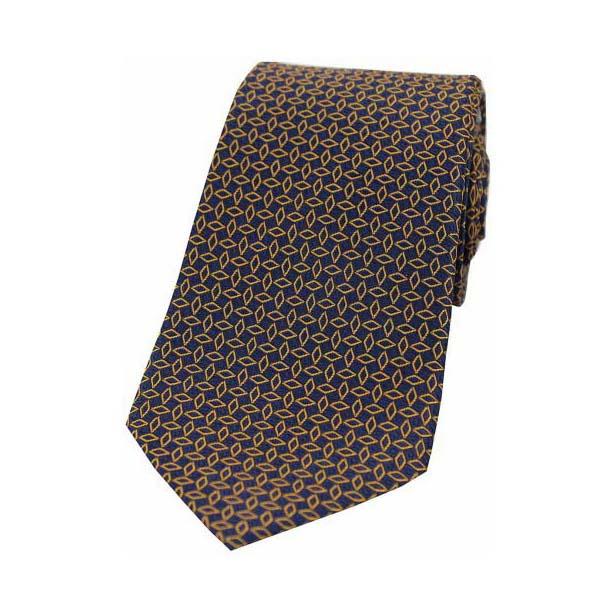 Burnt Orange Diamond Link Pattern on a Navy Silk Tie