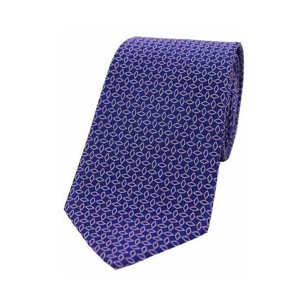Pink Diamond Link Pattern on a Navy Silk Tie