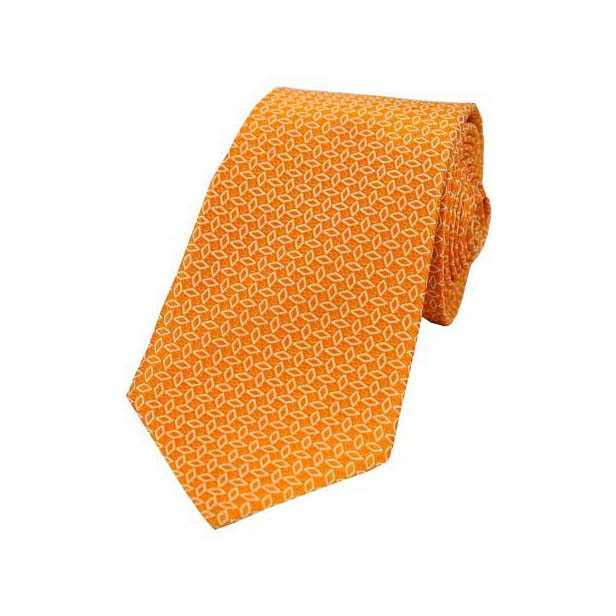 White Diamond Link Pattern on Orange Silk Tie