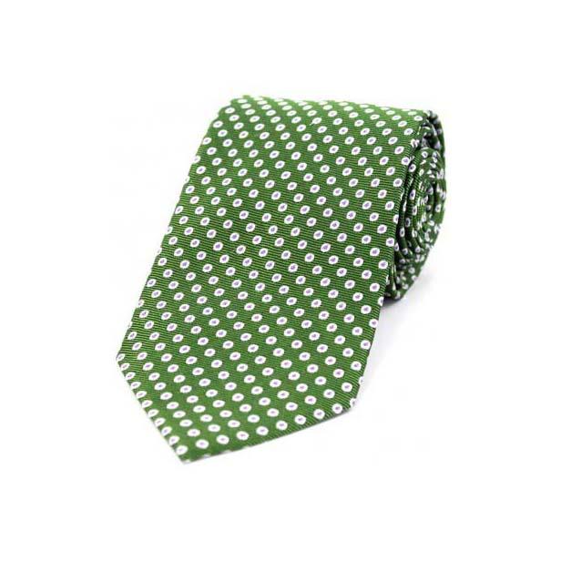 White Spot Target Pattern on Green Silk Tie