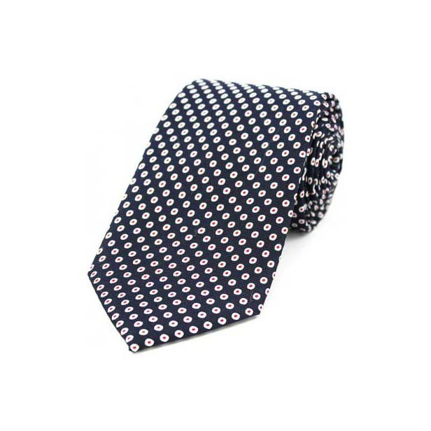 White Spot Target Pattern on a Navy Silk Tie