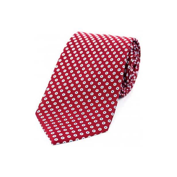 White Spot Target Pattern on Red Silk Tie