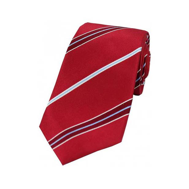 Light Blue and White Stripes on Red Silk Tie