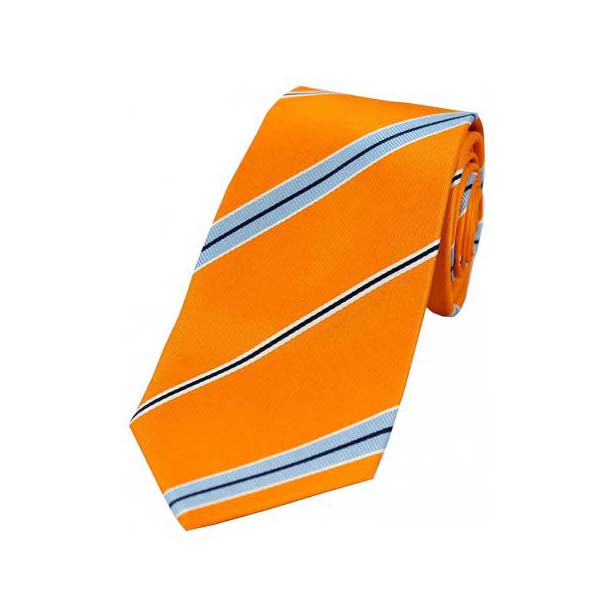 Light Blue and Navy Striped on Orange Silk Tie