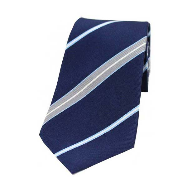 Grey and Light Blue Stripes on a Navy Silk Tie