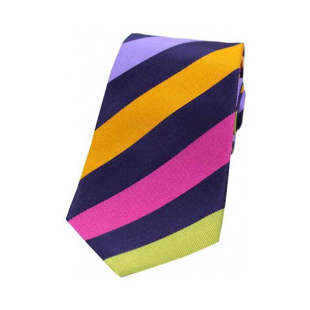 Large Multi Coloured Stripes Silk Tie