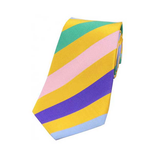 Gold and Multi Coloured Large Stripes Silk Tie