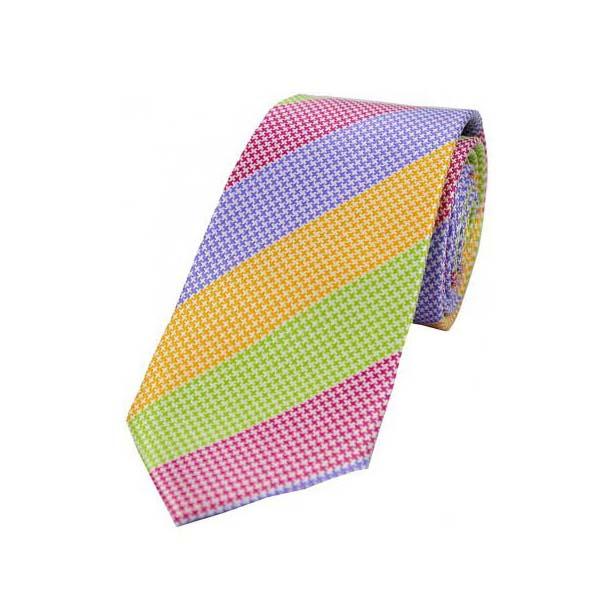 Multi Coloured Large Stripes Textured Silk Tie