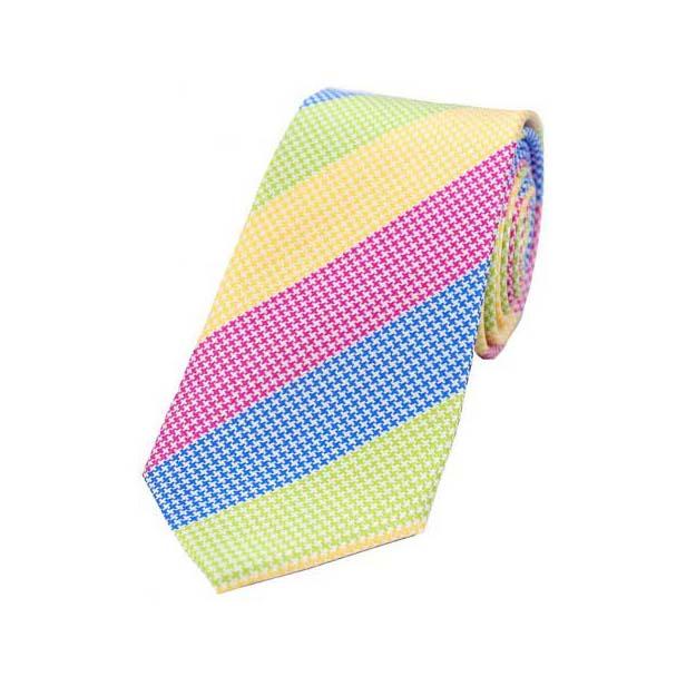 Large Multi Coloured Stripes Textured Silk Tie