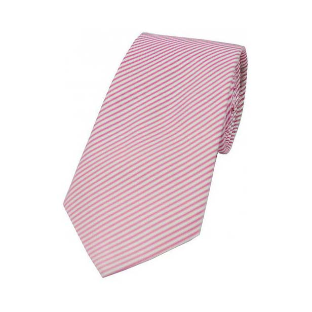 Pastel Pink and White Thin Striped Silk Tie