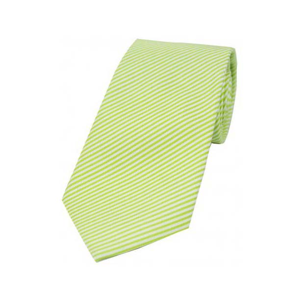 Pastel Lime Green and White Thin Striped Silk Tie