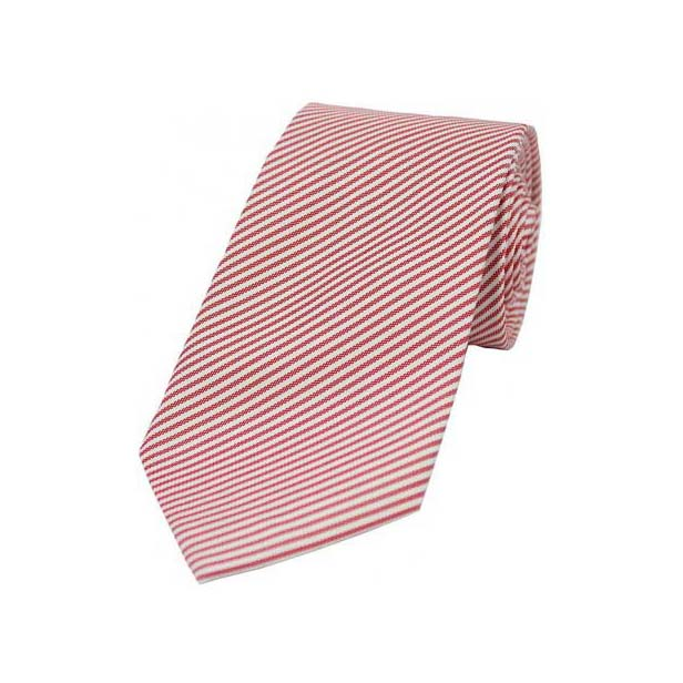 Pastel Red and White Thin Striped Silk Tie