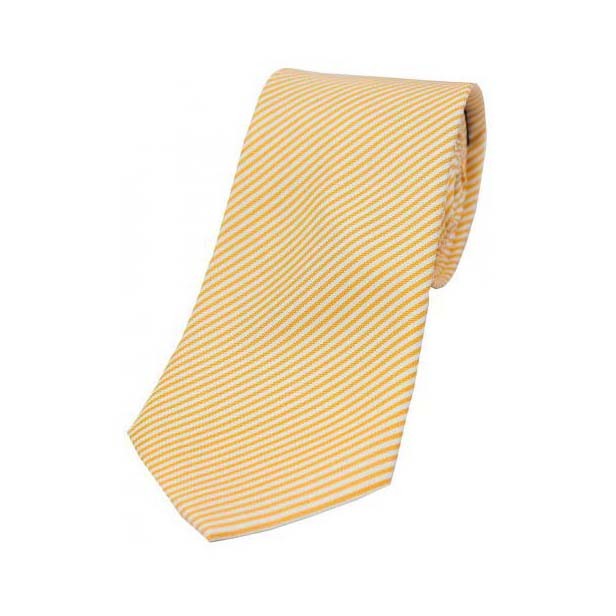 Pastel Orange and White Thin Striped Silk Tie