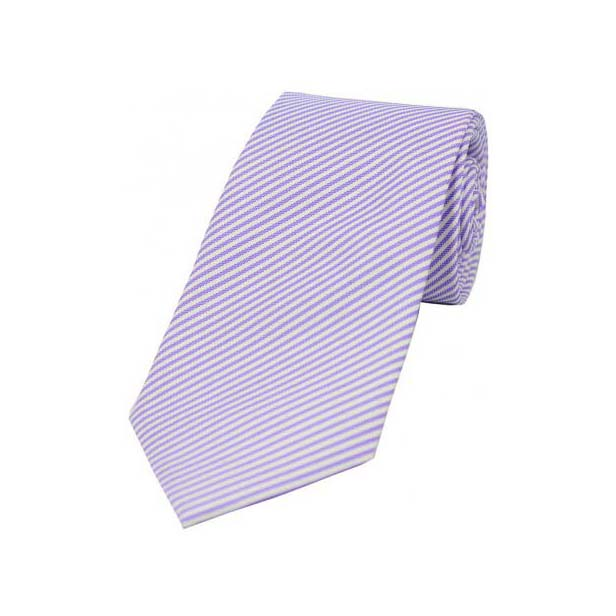 Pastel Purple and White Thin Striped Silk Tie