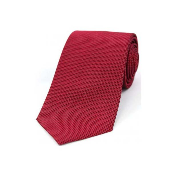 Red Textured Silk Tie
