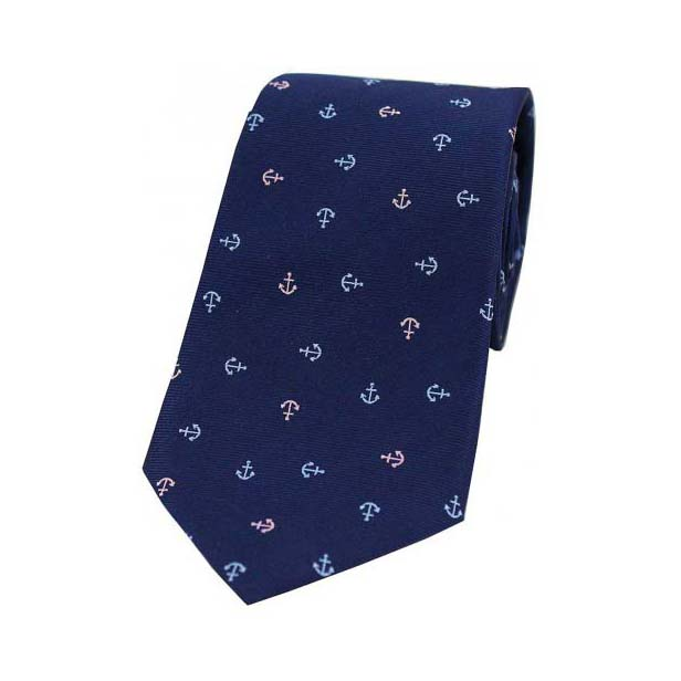 Light Blue and Pink Boat Anchors on a Navy Silk Tie