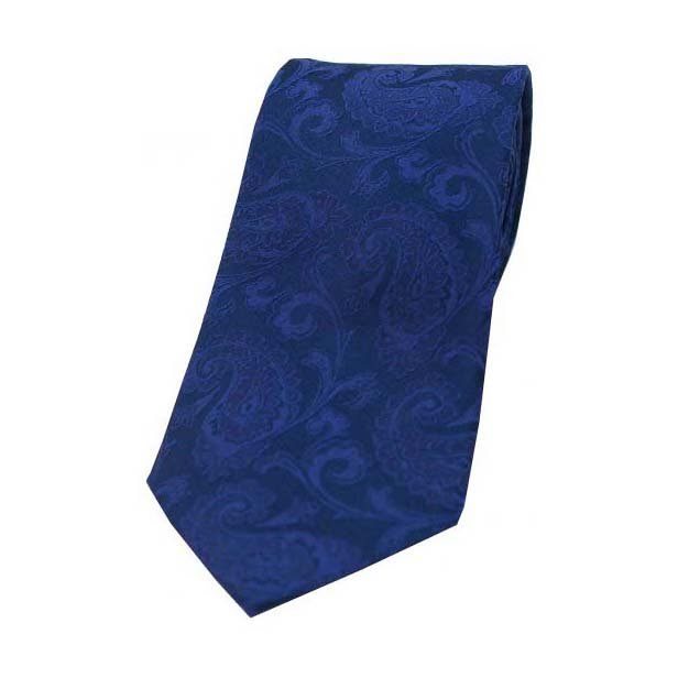 Royal Blue Paisley Silk Tie