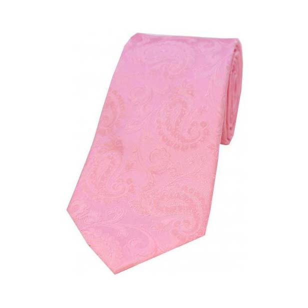 Baby Pink Paisley Silk Tie