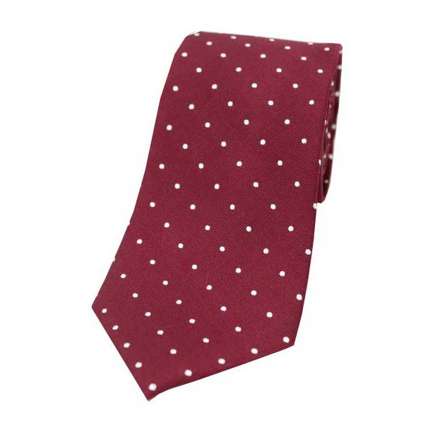 Wine and White Pin Dot Silk Tie