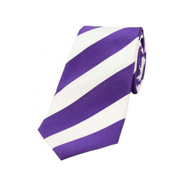 Purple and White College Style Striped Silk Ties