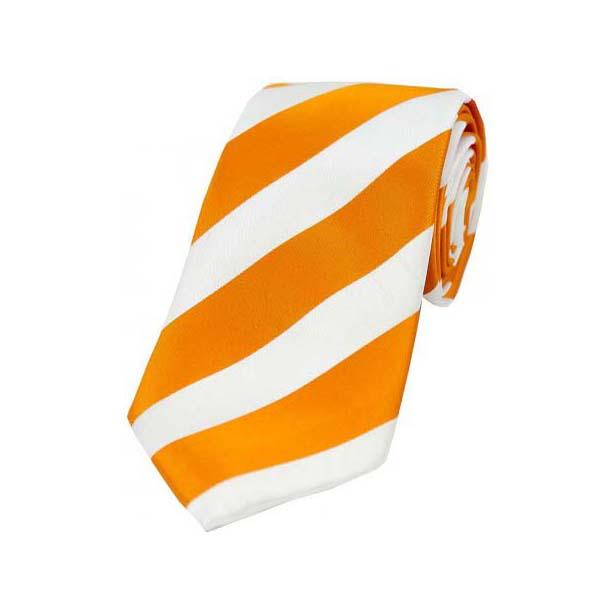 Orange and White College Style Striped Silk Tie
