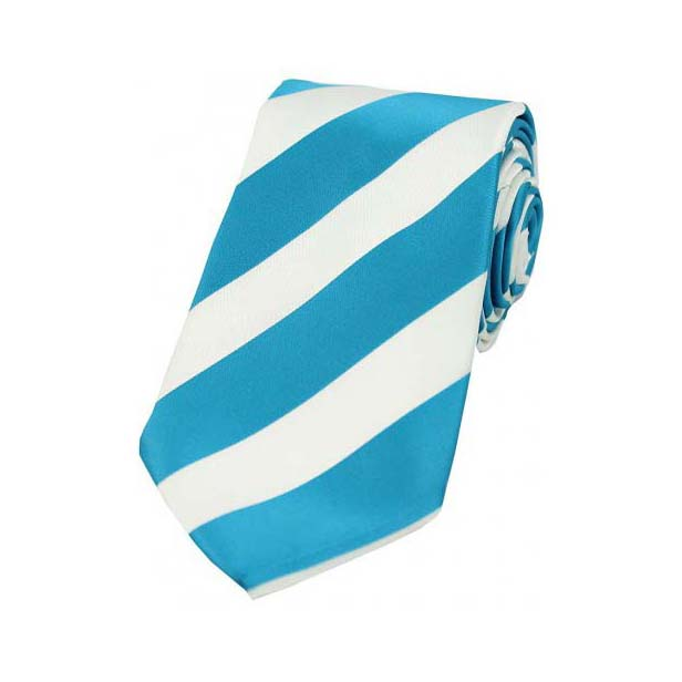 Cyan and White College Style Striped Silk Ties