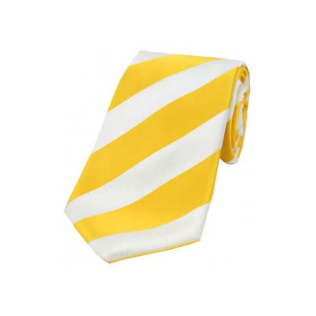 Gold and white striped tie manage