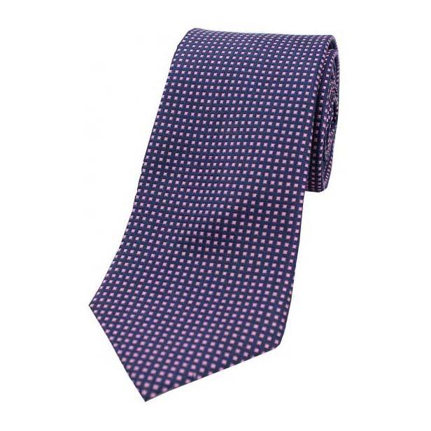 Pink Box Pattern on a Navy Silk Tie