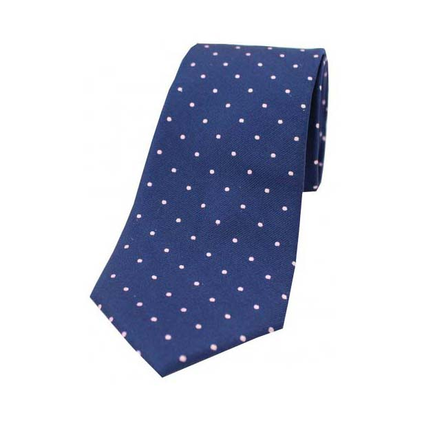 Pink and Navy Pin Dot Woven Silk Tie
