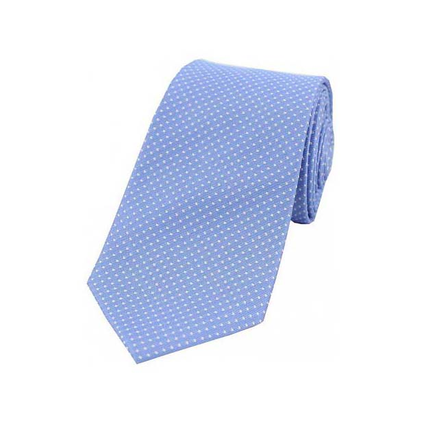 White Pin Dot on Light Blue Silk Tie