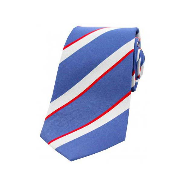 Royal Blue, White and Red Striped Woven Silk Tie