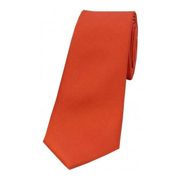 Burnt Orange Satin Silk Thin Tie