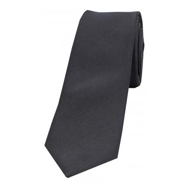 Charcoal Grey Satin Silk Thin Tie