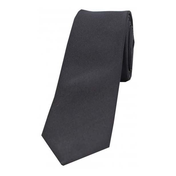 Charcoal Grey Satin Silk Thin Tie