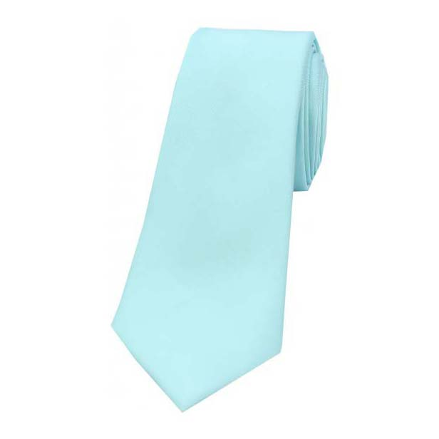 Cyan Satin Silk Thin Tie