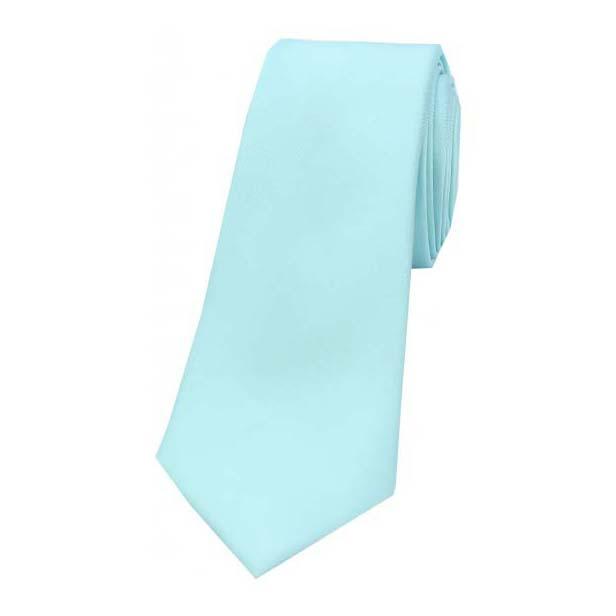 Cyan Satin Silk Thin Tie