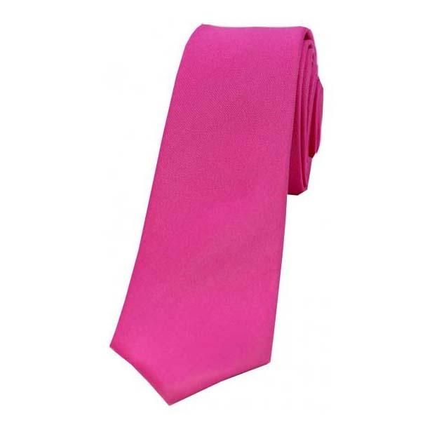 Fuchsia Satin Silk Thin Tie