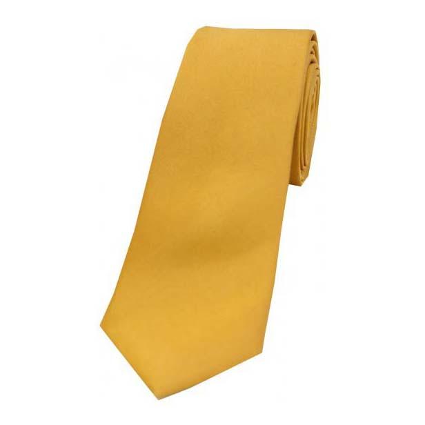 Gold Satin Silk Thin Tie