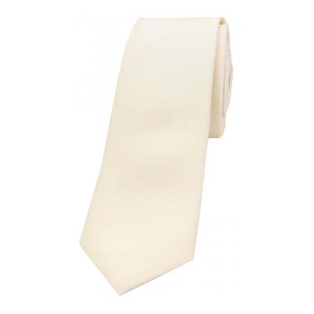 Ivory Satin Silk Thin Tie