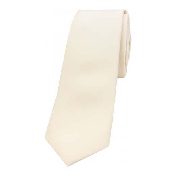 Ivory Satin Silk Thin Tie