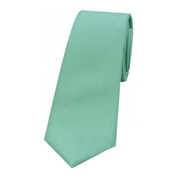 Mint Satin Silk Thin Tie