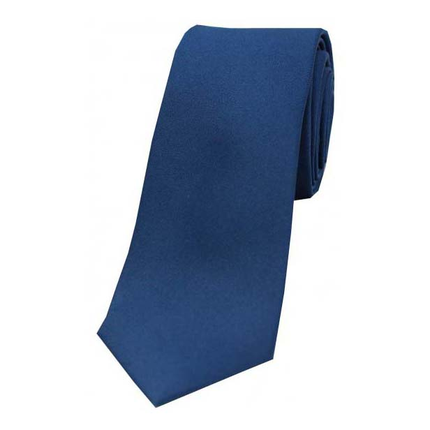 Navy Satin Silk Thin Tie