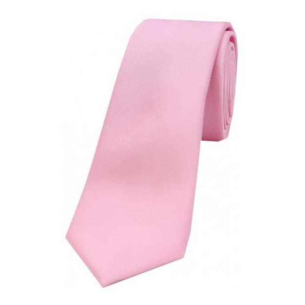Pink Satin Silk Thin Tie
