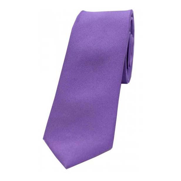 Purple Satin Silk Thin Tie