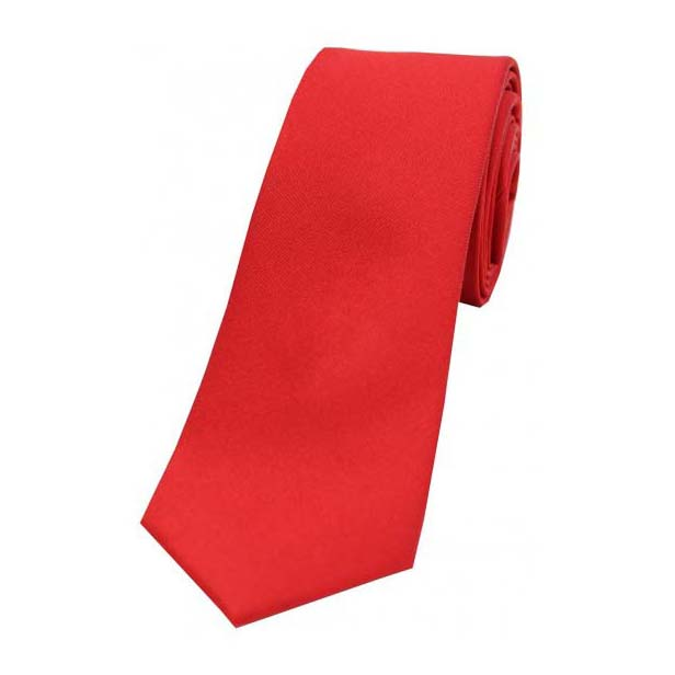 Red Satin Silk Thin Tie