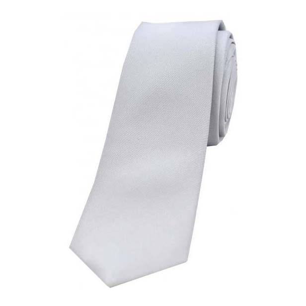 Silver Satin Silk Thin Tie