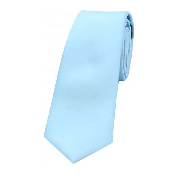 Sky Blue Satin Silk Thin Tie