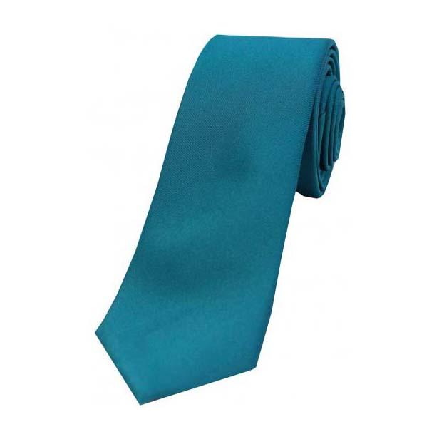 Teal Satin Silk Thin Tie